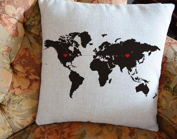 Custom world map pillow cover, long distancegift , boyfriend