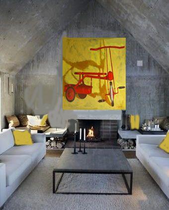 Diana Watson art work \'Cyclops\' hanging in stylish concrete room ...