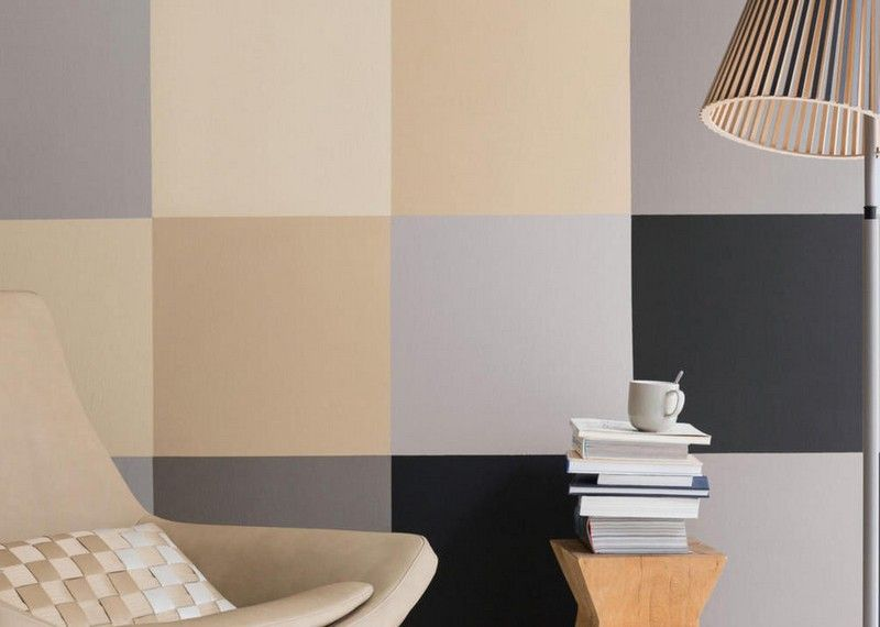 Wandfarben-Ideen-Sand-Muster-streichen-Wohnzimmer-Anthrazit - beige wandfarbe