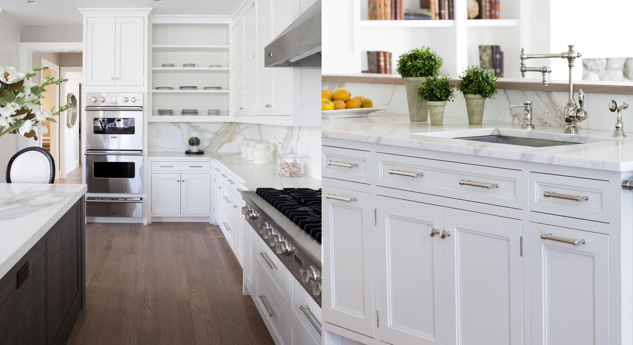 classic white kitchen, marble, island.   Kitchen   Pinterest