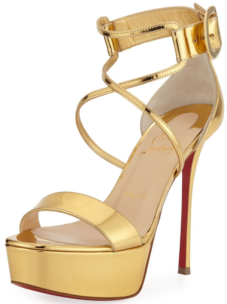 008f334034a Christian Louboutin shiny metallic leather sandals