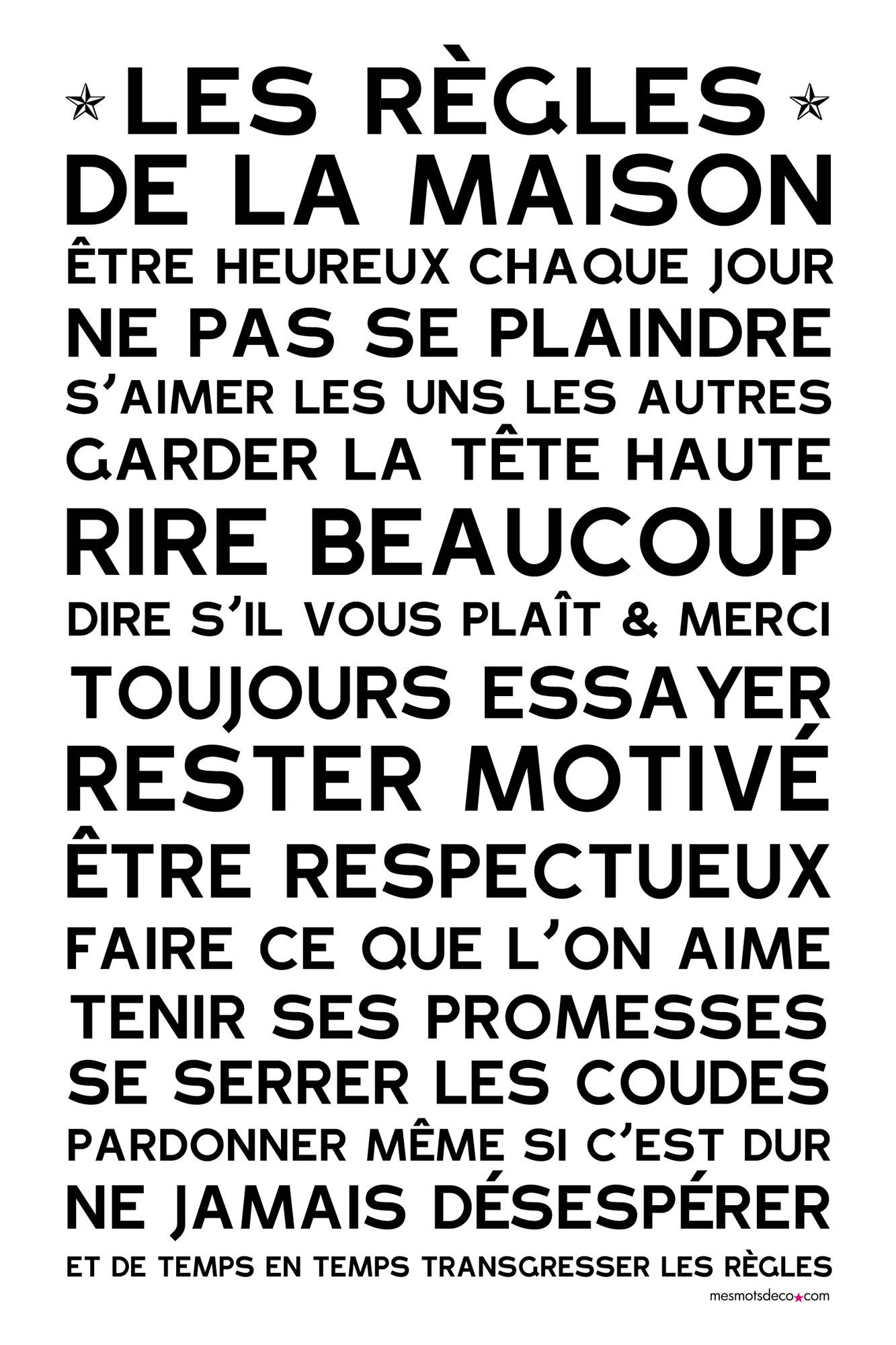 affiche sticker les r gles de la maison blanc citations. Black Bedroom Furniture Sets. Home Design Ideas