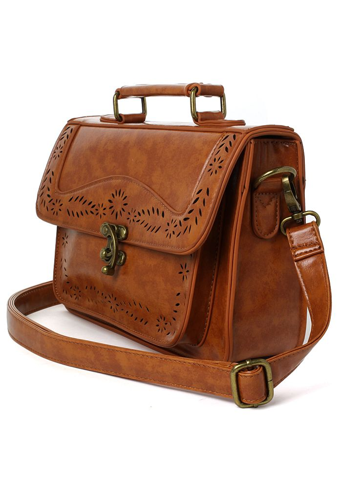 Brown Vintage Satchel Bag With Cut Out Detail Retro In And Unique Fashion