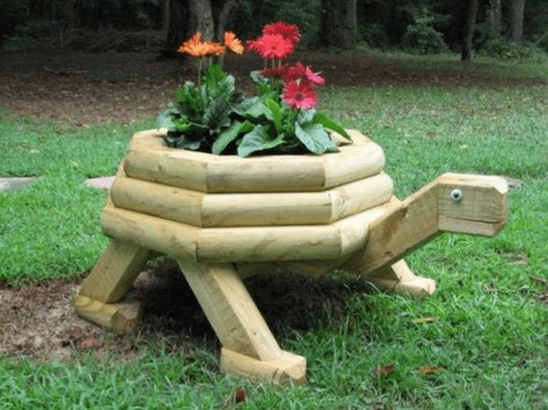 Diy Wooden Turtle Planter Landscape Timbers Landscape Timber Crafts Animal Planters