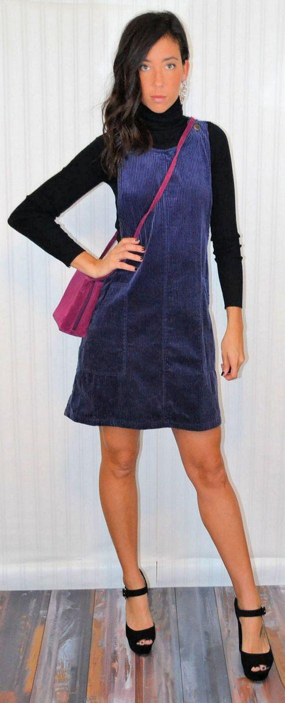 f5dbfbbd7e13 Vintage 90's Blue Corduroy Jumper Dress Sleeveless Ribbed Pattern ...