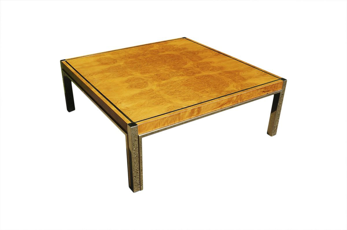 70s Zevi Maple And Brass Square Coffee Table Sp1069 Coffee Table Square Coffee Table Table