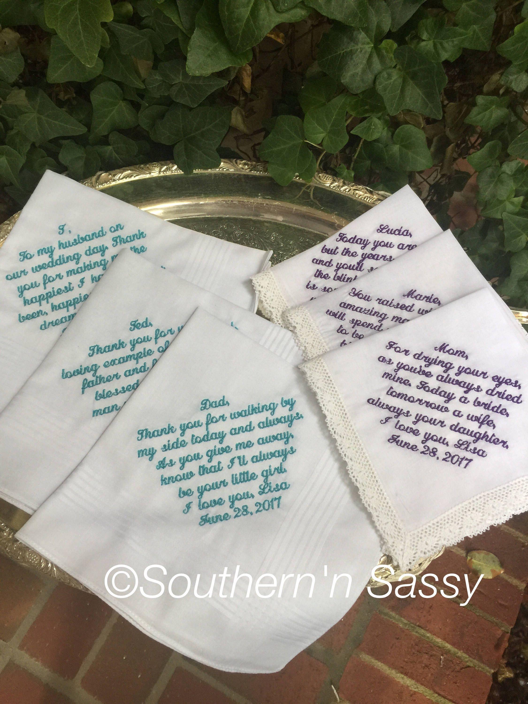 6 Custom Embroidery Wedding Handkerchief, Bride's Words On Hankies
