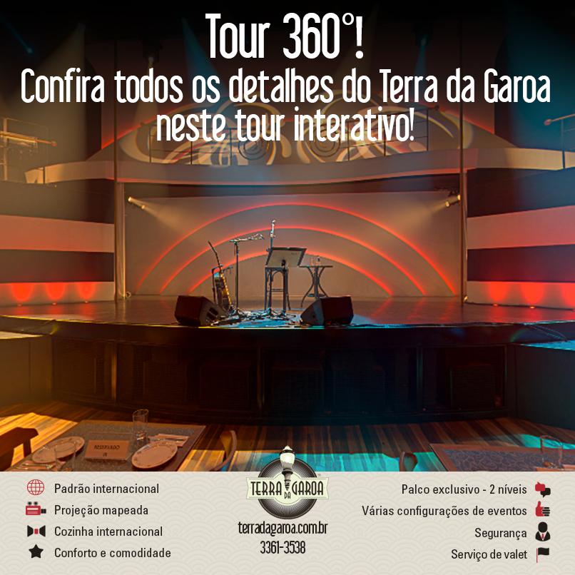 O Terra da Garoa convida você a conhecer nosso espaço!   Faça este tour virtual! Você também vai se apaixonar pela casa de espetáculos que está conquistando o coração de São Paulo!  Veja: http://goo.gl/tEBUpL