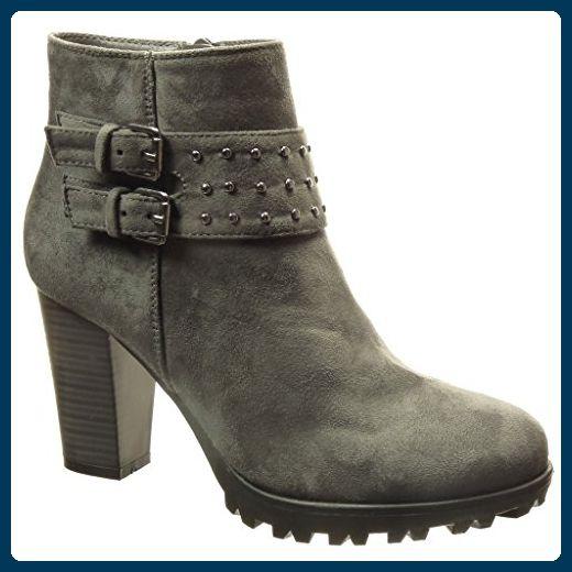 Angkorly - damen Schuhe Stiefeletten - Combat Boots - Nieten - besetzt - Schleife  Blockabsatz high