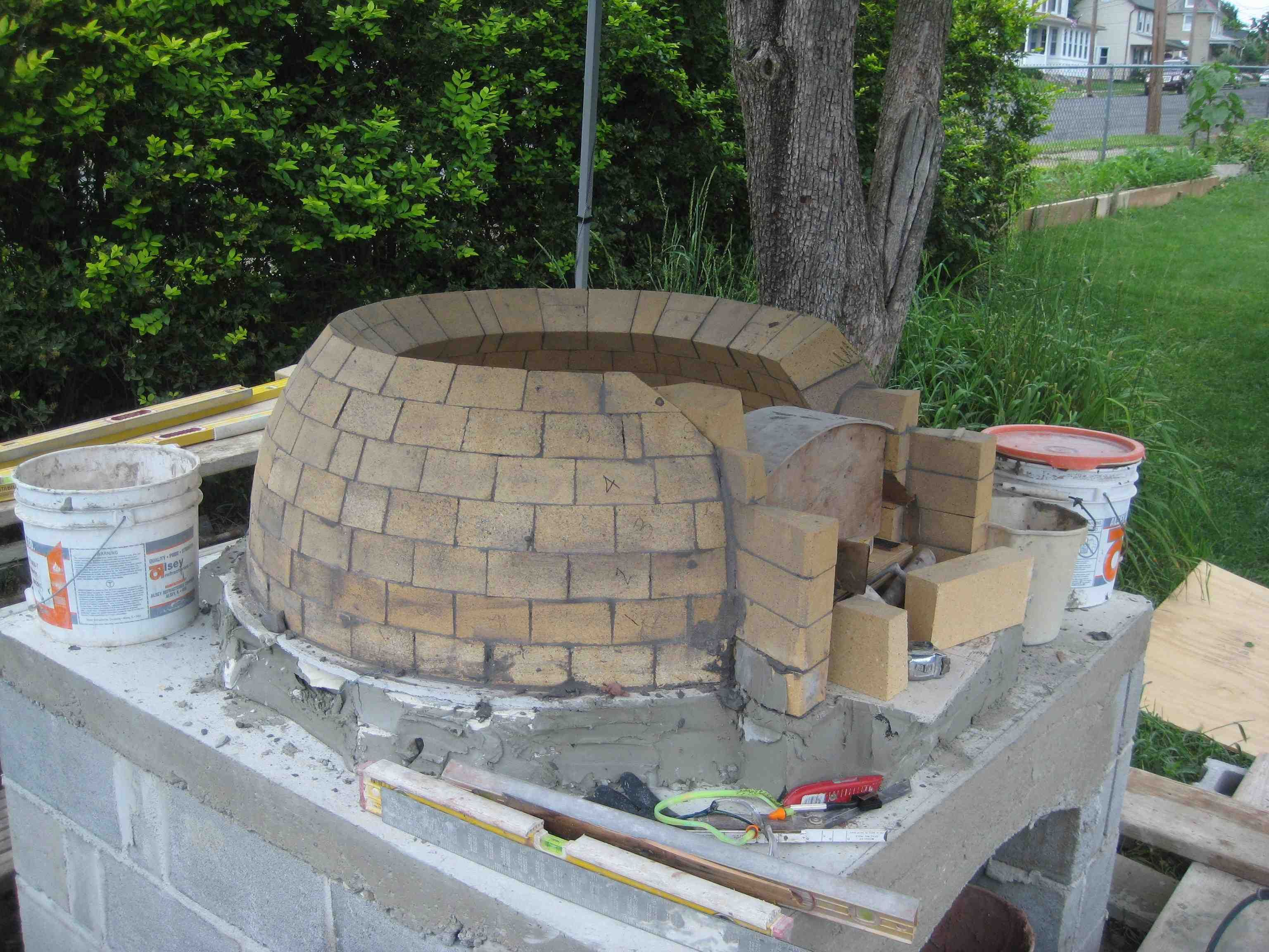 Warren County New Jersey Dome Wood Fired Backyard Pizza Oven Construction  3751