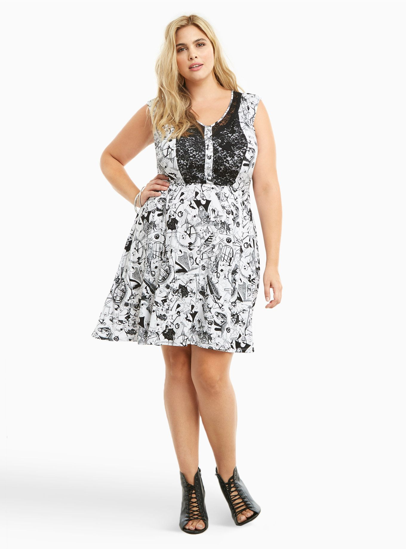 2cad48724fa Nightmare Before Christmas Collection Print Lace Inset Skater Dress ...