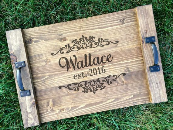 Rustic Personalized Serving Tray Custom Wood Tray Rustic Wedding Gift Anniversary Gift