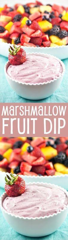 Marshmallow Fruit Dip #homemademarshmallowfluff Marshmallow Fruit Dip made with homemade marshmallow fluff and pureed berries. {Bunsen Burner Bakery} #homemademarshmallowfluff