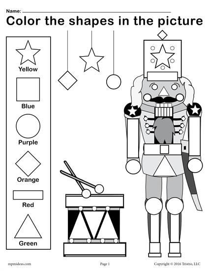 FREE Printable Nutcracker Shapes Worksheet & Coloring Page