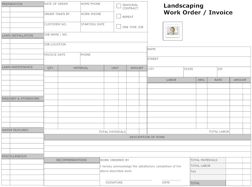 Example image landscaping work order form small business owner create landscaping form examples like this template called landscaping work order form that you can easily edit and customize in minutes pronofoot35fo Gallery