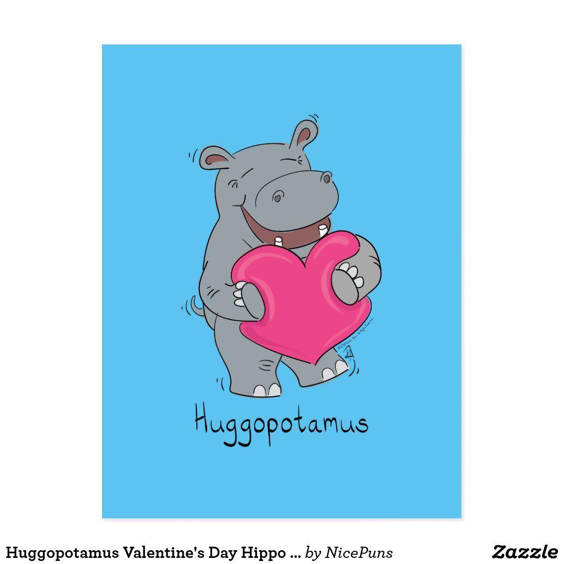 Huggopotamus Valentine's Day Hippo Postcard Blue