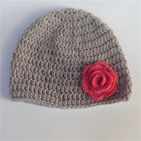 crochet baby beanie | grey, watermelon pink rose | gift | newborn ...