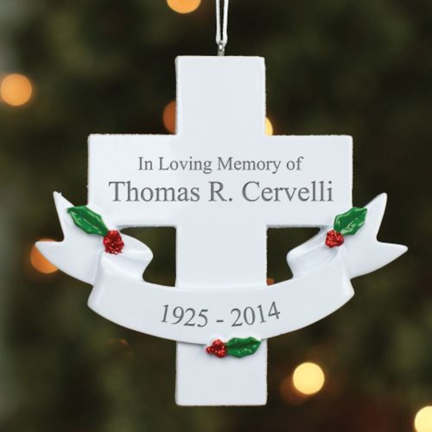Personalized Engraved In Loving Memory Cross Ornament | Products ...