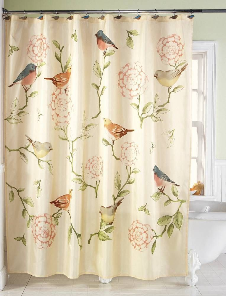 Shabby Cottage Style Lovely Birds And Flowers Design Fabric Shower Curtain