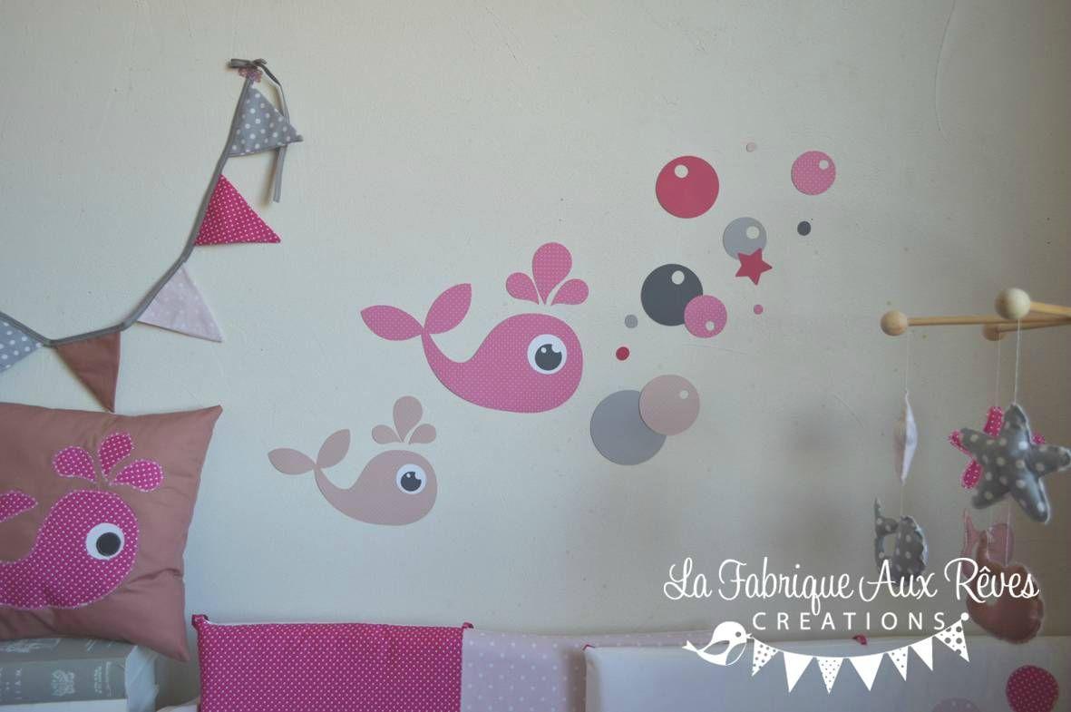 stickers baleines bulles étoiles fuchsia rose poudré vieux rose gris ...