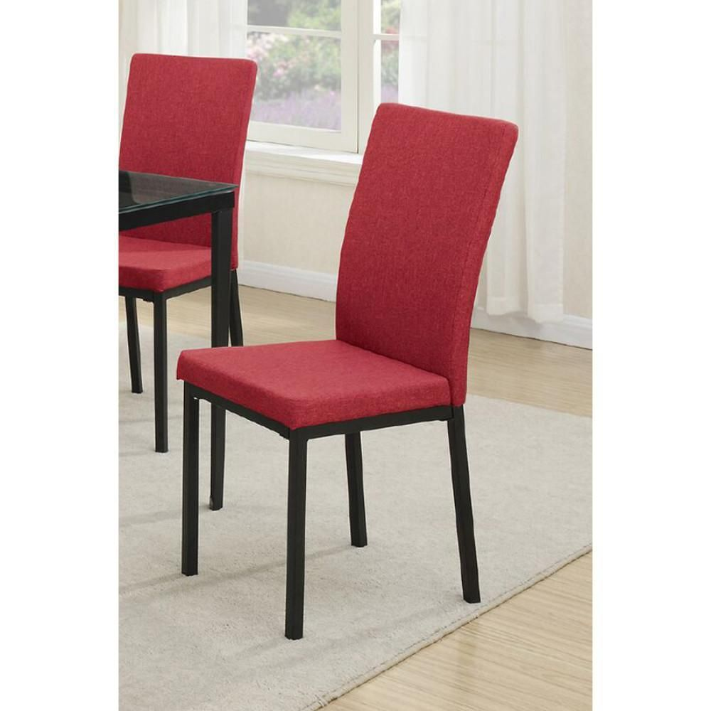 Metal Frame Dining Chair With Polyfiber Upholstery Set Of 2 Red
