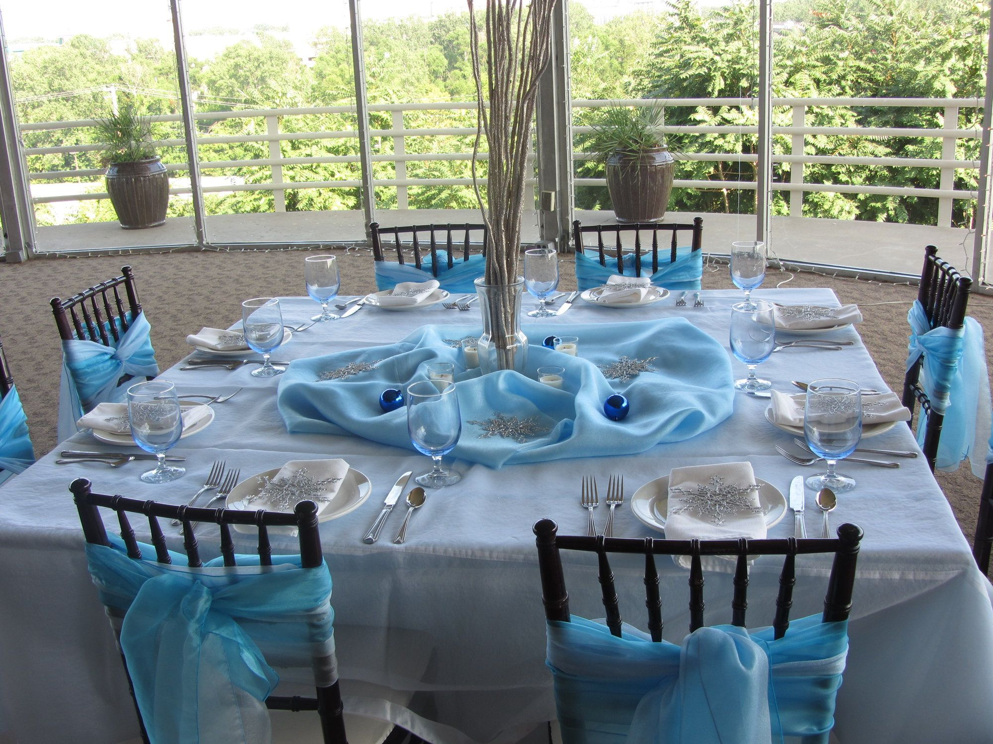 Winter Wedding Theme Blue Chair Sashes And Table Decor