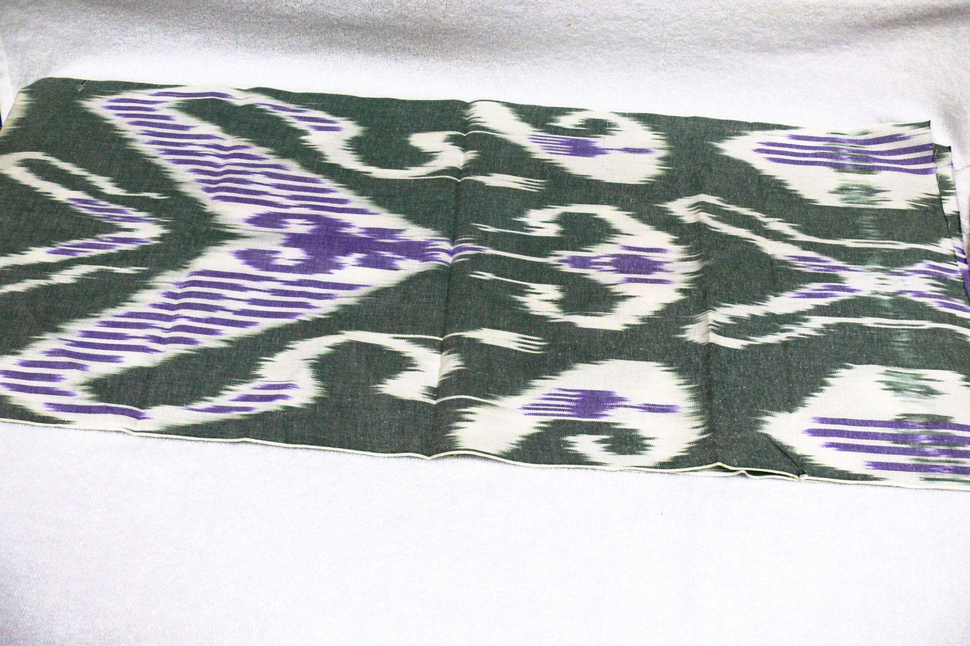 Handdyed handwovenikat fabric cotton white green and purple