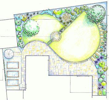 A split level garden plan with a diagonal wall to add for Small split level garden ideas