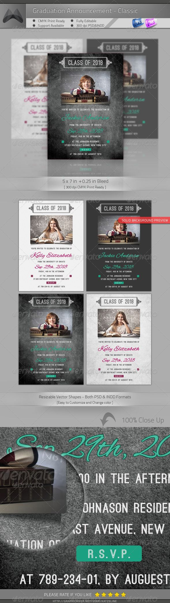 Graduation Announcement - Classic | Change colour, Template and Fonts