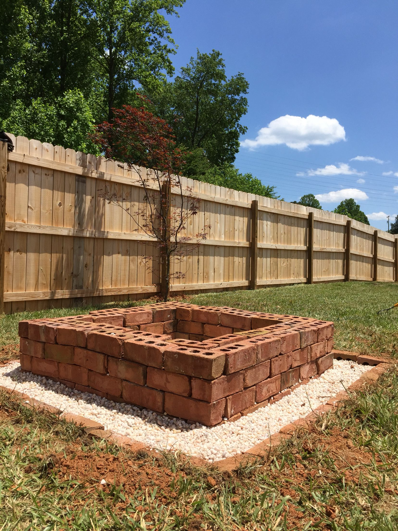 Square brick firepit with pea gravel base | Brick fire pit ...