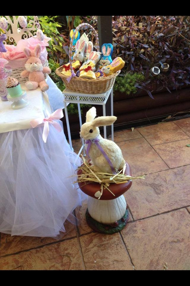 Vintage Easter party table styled by Tickled Pink Celebrations - the bunny is so cute!