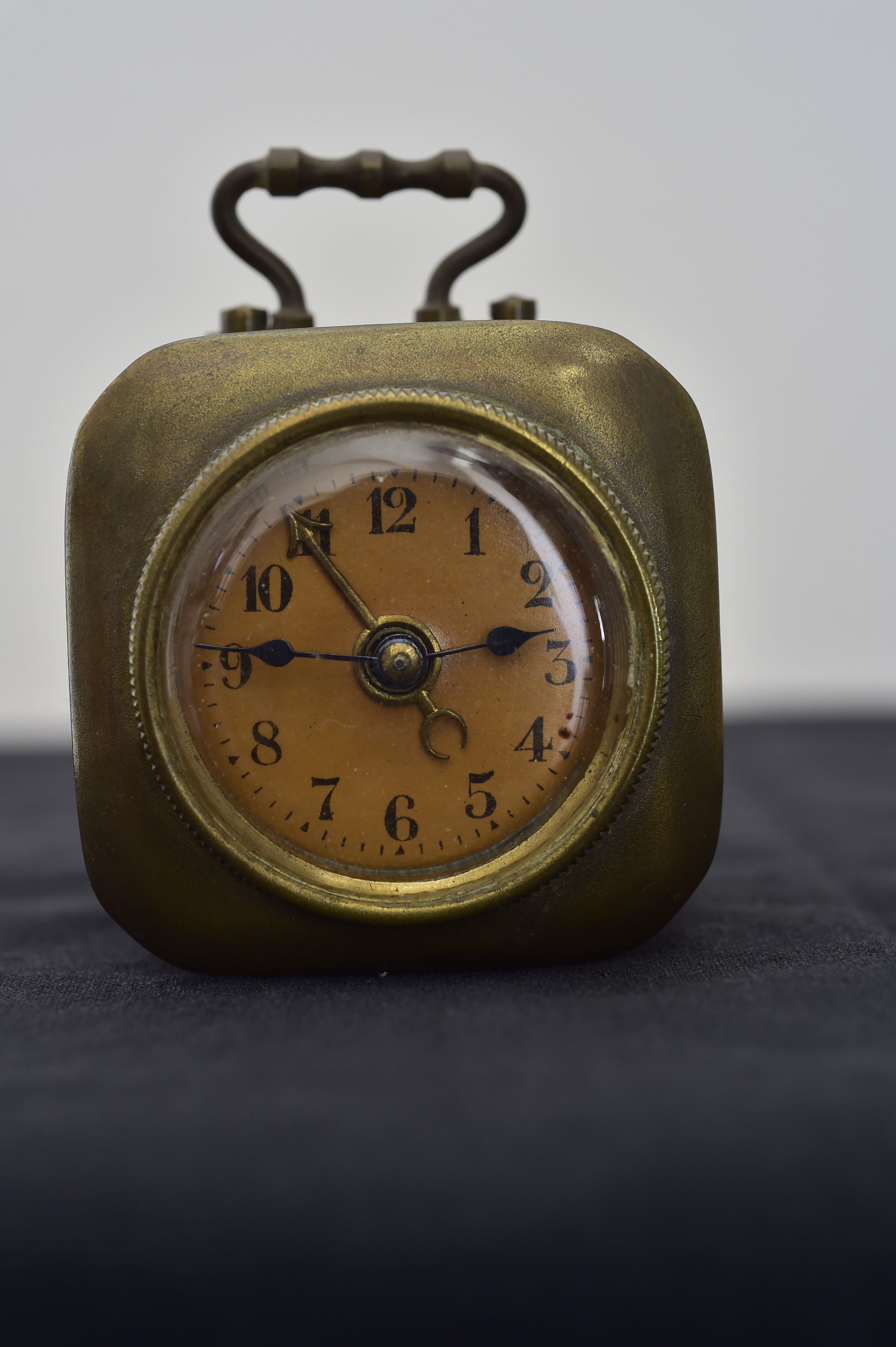Rare Antique German Miniature Brass Carriage Travel Alarm Clock C