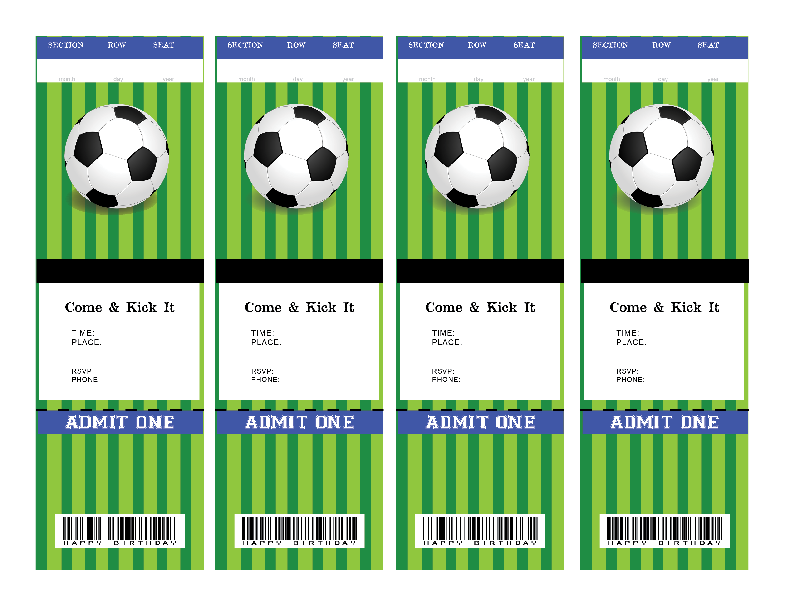 Soccer Ticket Birthday Invitation Blank For You To Fill