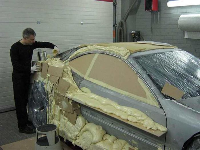 In Lithuania, scrap cars with foam are turned into something incredibly amazing. First, you have to start off with an old, beat-up Mercedes-Benz CLK-Class, l...
