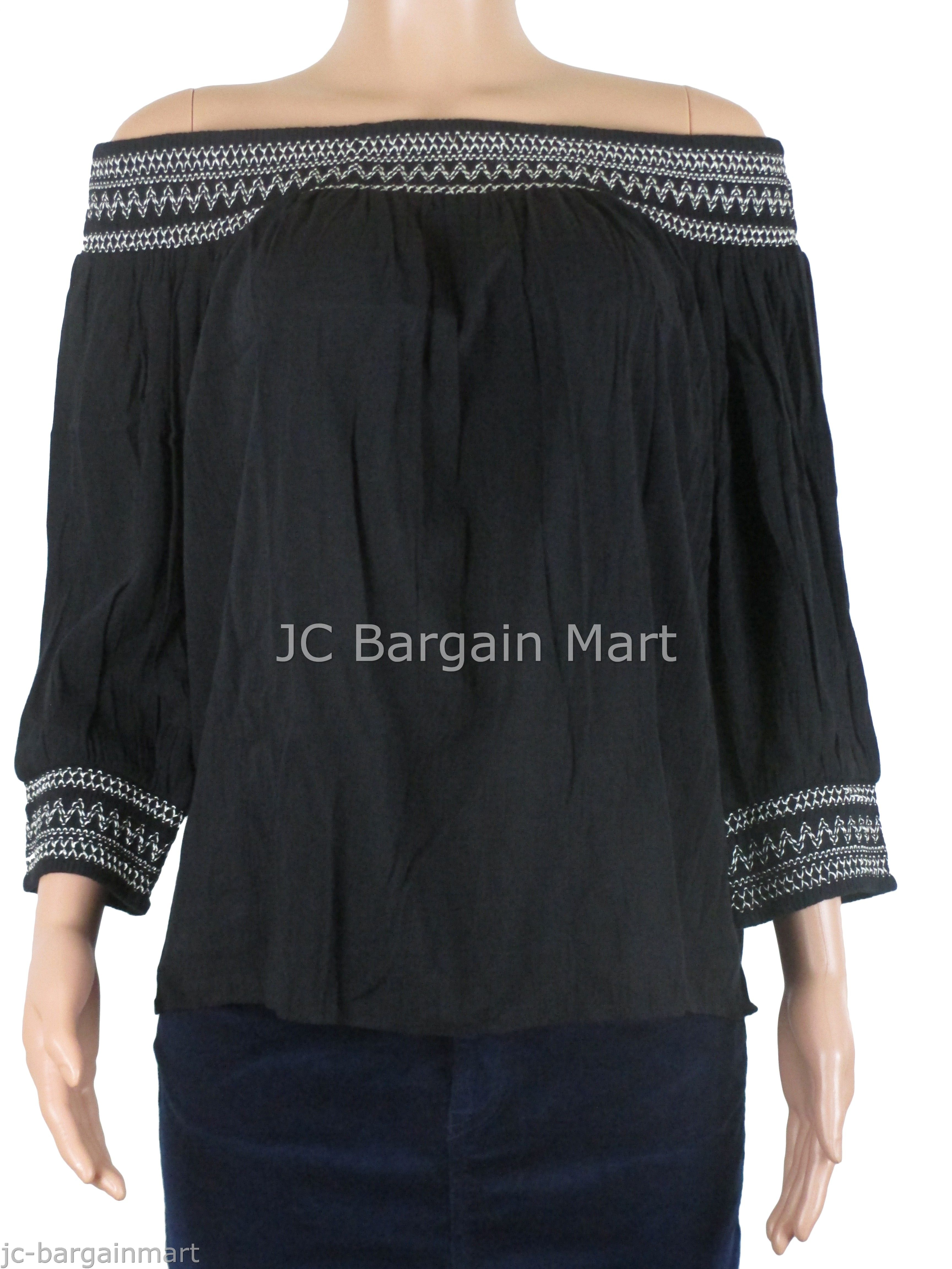 2374d57f81cc50 INC International Concepts Women's 3/4 Sleeve Off-The-Shoulder Peasant Top  55