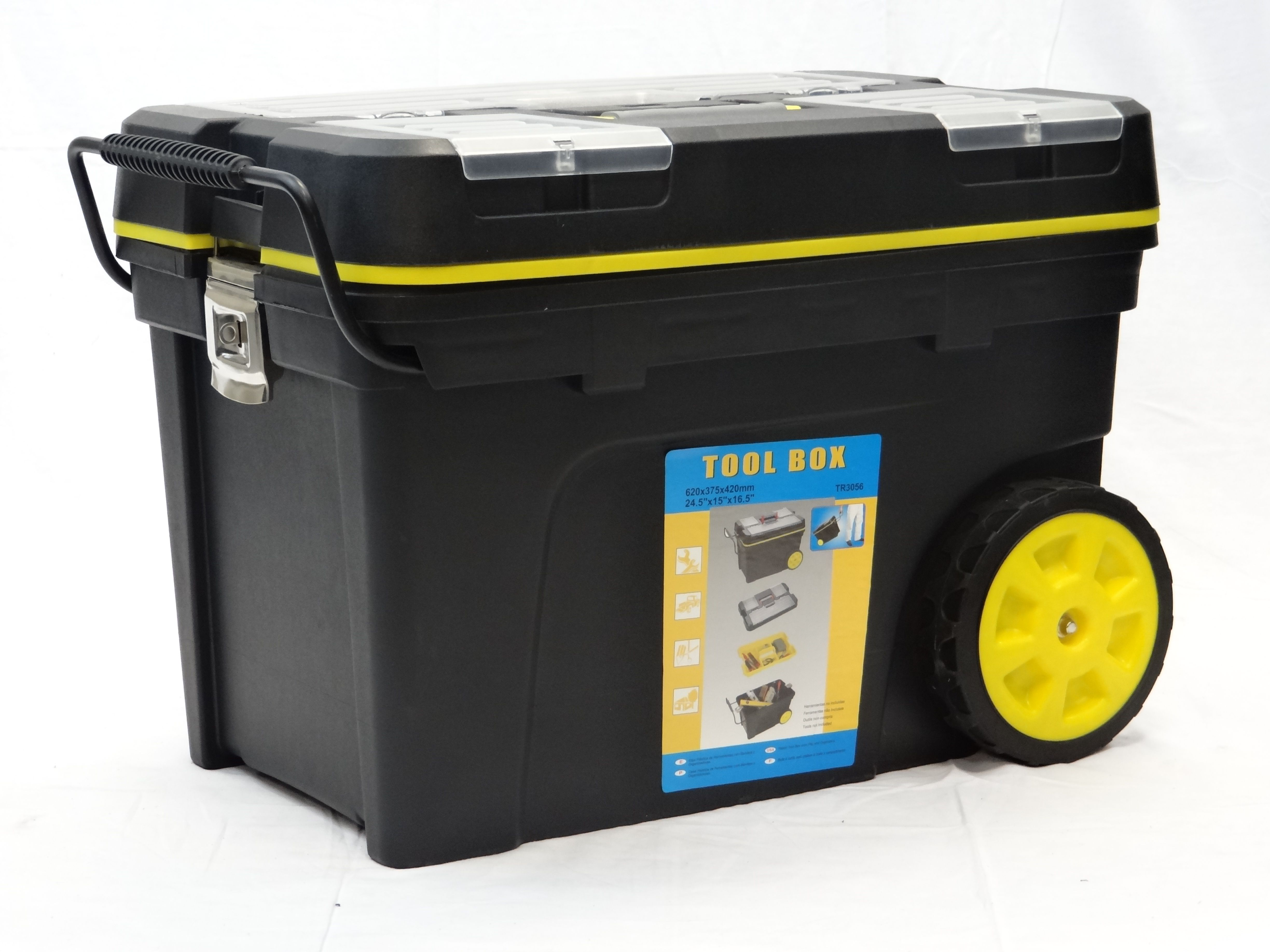 Tool box with wheels and pull out handle mobile tool case with extra storage pinterest - The mobile office working on two wheels ...