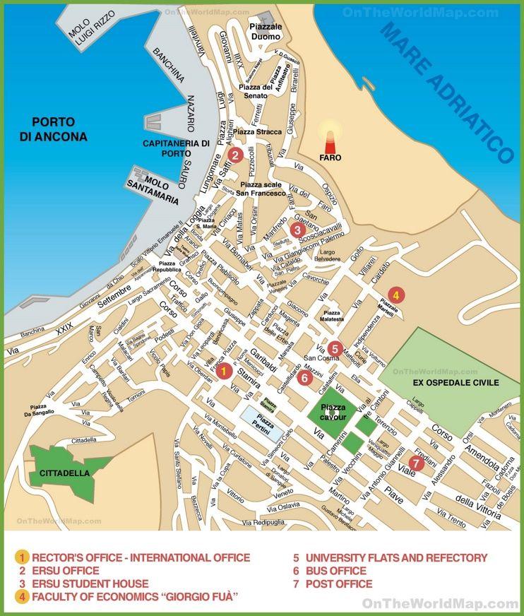 Amendola Italy Map.Map Of Ancona City Centre Maps Pinterest Centre City And Italy