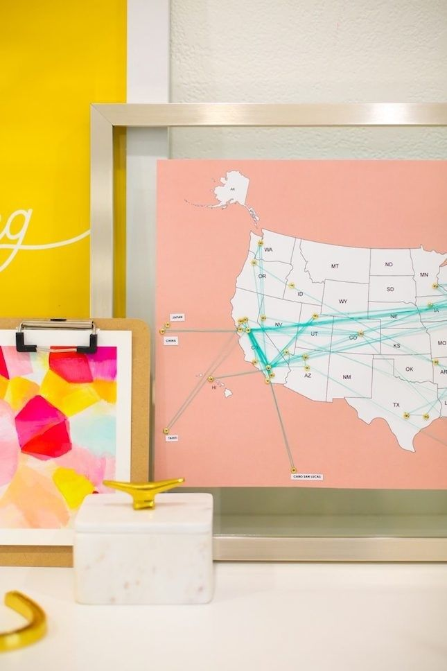 Save This Home Decor DIY Idea To Learn How To Make Your Own Travel - Make your own travel map