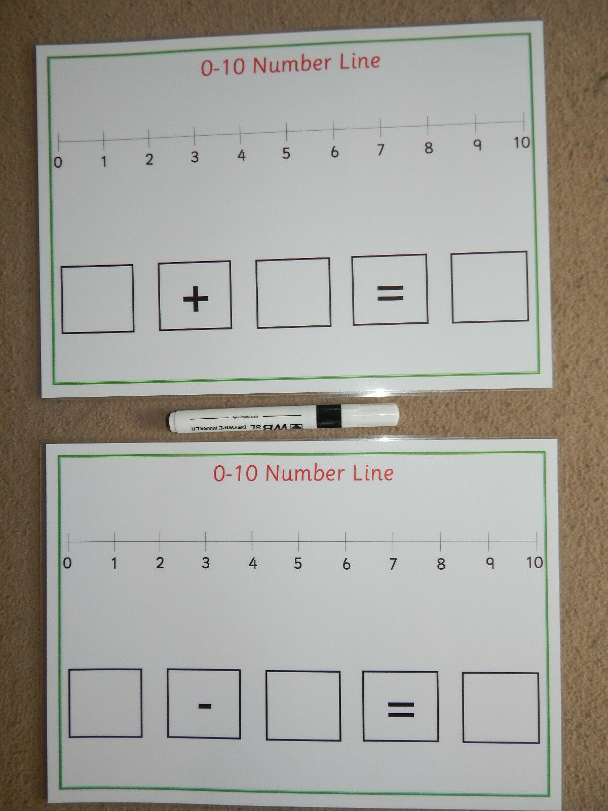 0 10 Addition Subtraction Number Lines