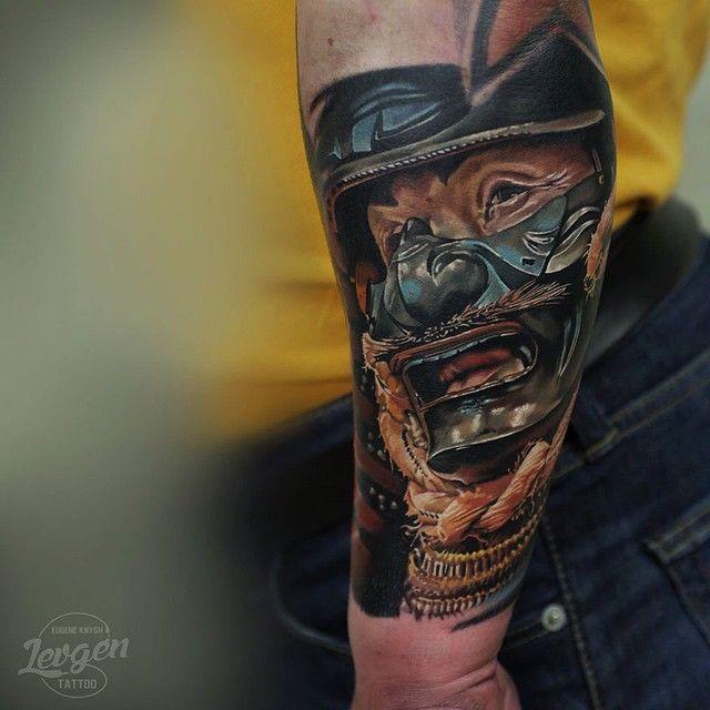 Japanese warrior mask tattoo on arm japanese warrior and for Japanese war tattoos