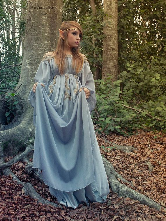 Elven fairytale dress in grey blue silk gauze chiffon and golden embroidery. €343.95, via Etsy.