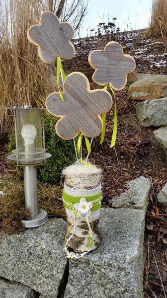 Holz blume holzdekoration birkenblume von maru dekokreativ - Gartenfiguren aus holz ...
