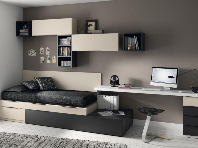Dormitorio juvenil tipo torre con zona estudio de muebles for Muebles juveniles zona sur