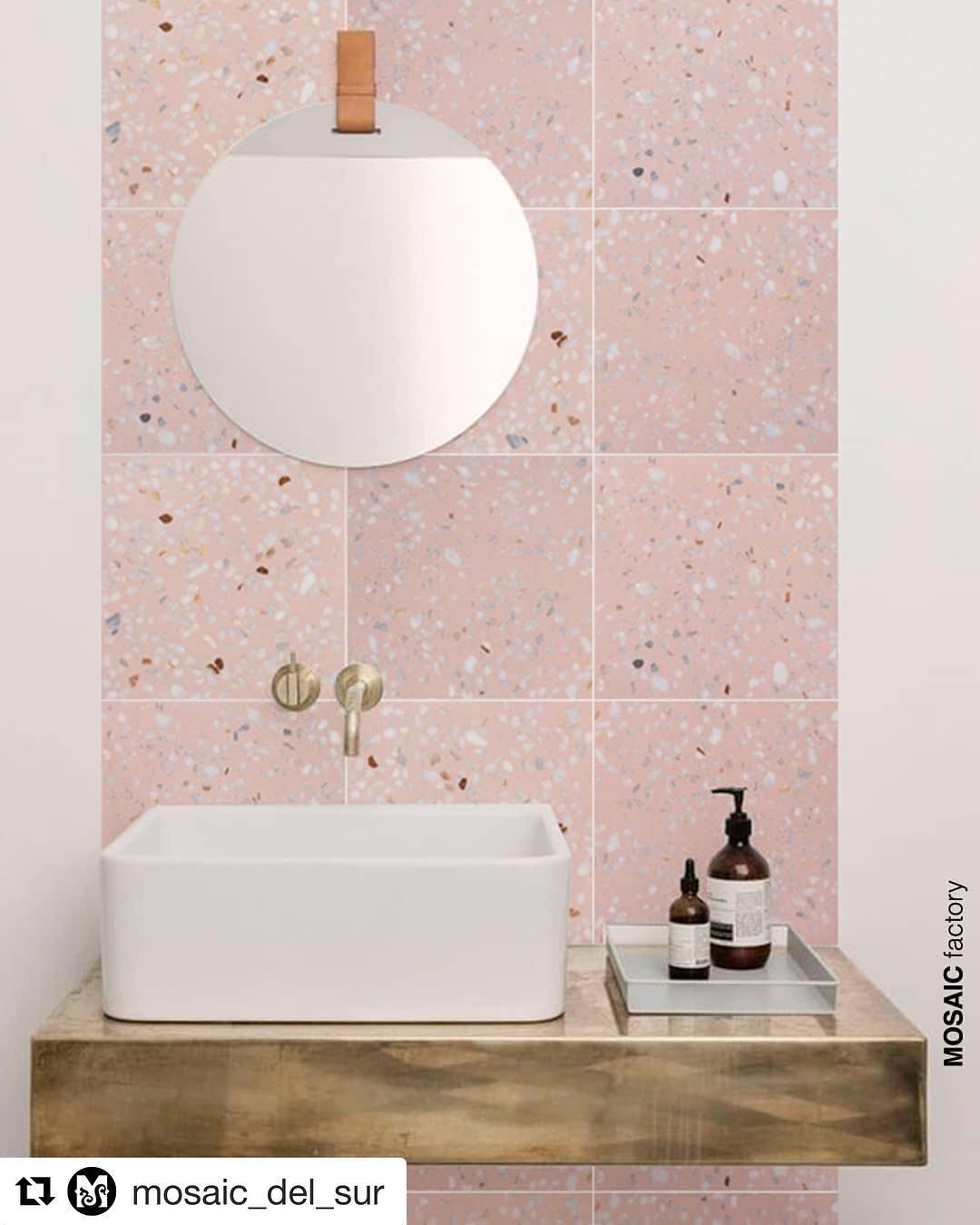 We Re Falling Head Over Heels For These Terrazzo Tiles In Beautiful Blush Pink Repost Mosaic Pink Bathroom Tiles Bathroom Wall Tile Bathroom Interior Design