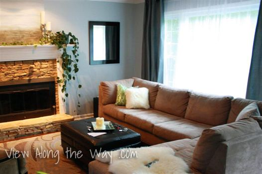 Living Room Tan Sectional Fireplace