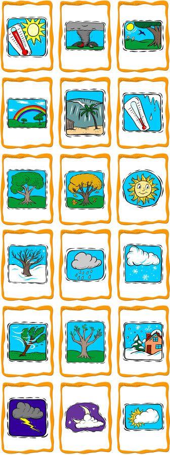 Koulupäivän alkuun sää- ja vuodenaikakortteja.