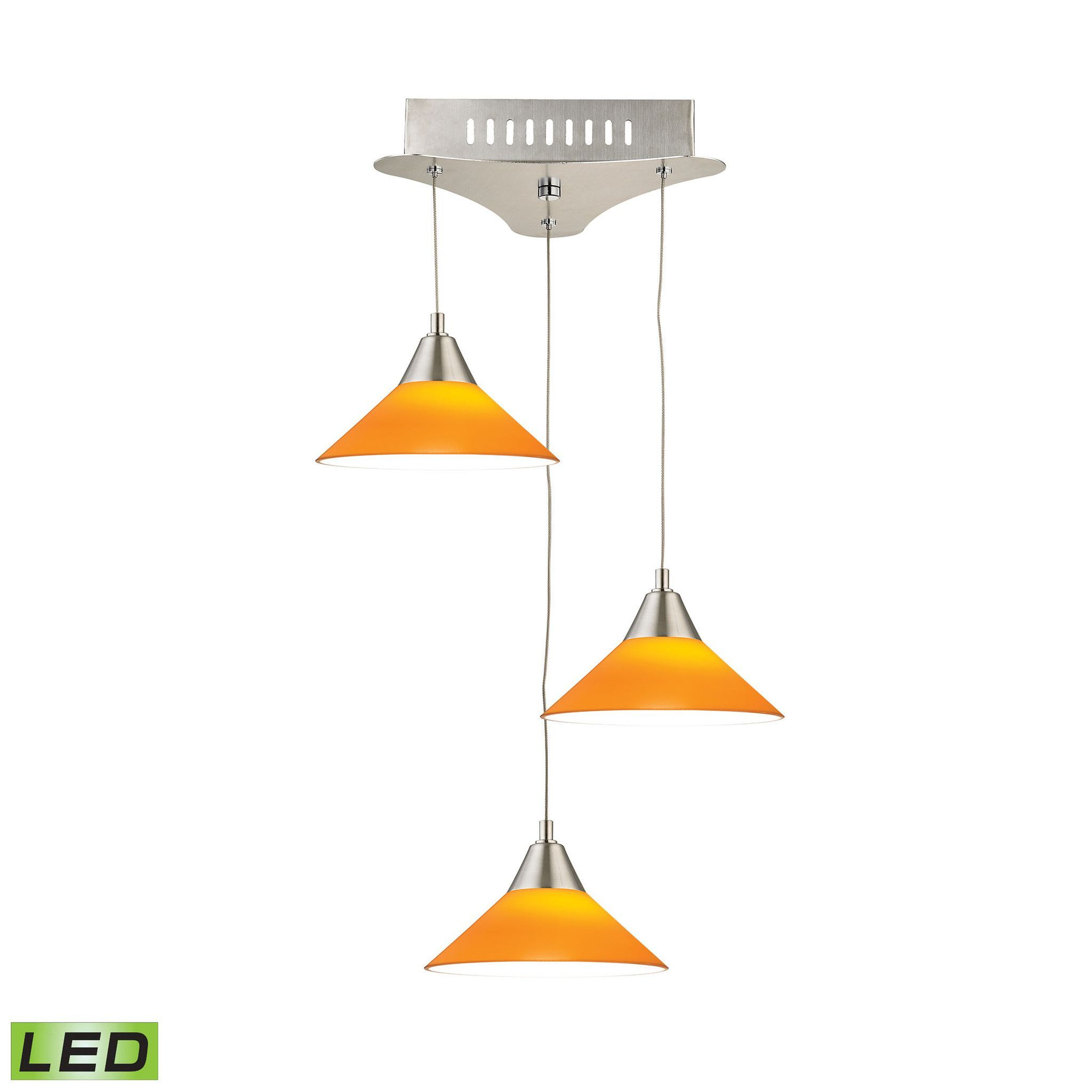 Alico cono light led pendant in satin nickel with yellow glass