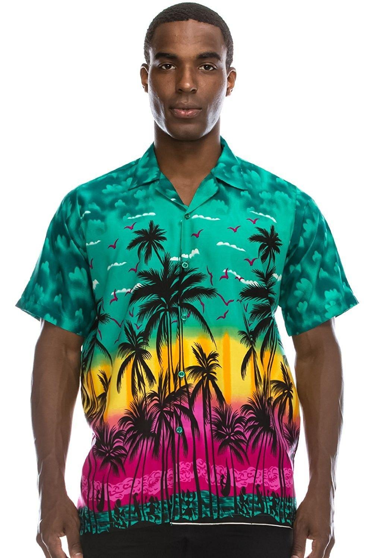 Mens Hipster Hip Hop Palm Tree Graphics Button Up Hawaiian Shirt