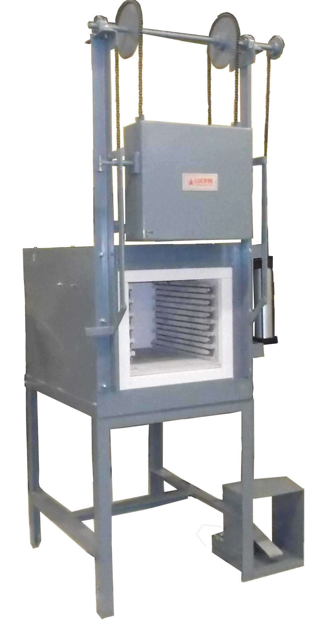 Air Door Lifts : This box furnace has an air operated verticle lift door