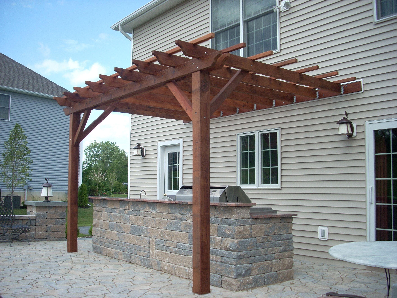 treated lumber pergola masonry block outdoor grill u0026 bar casco